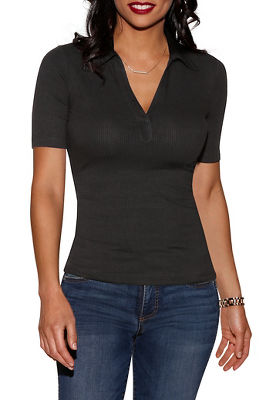 Display product reviews for Ribbed collar top
