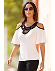 Embellished Cutout Neckline Top Photo
