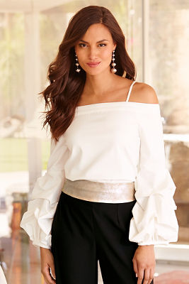 Drama sleeve off-the-shoulder top