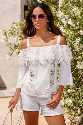 Cold shoulder beaded crochet top