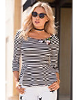 Striped Applique Boatneck Top Photo