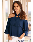 Cold Shoulder Ruffle Ring Top Photo