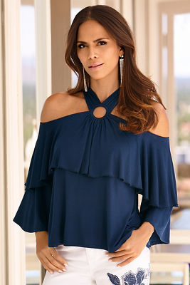 Cold shoulder ruffle ring top