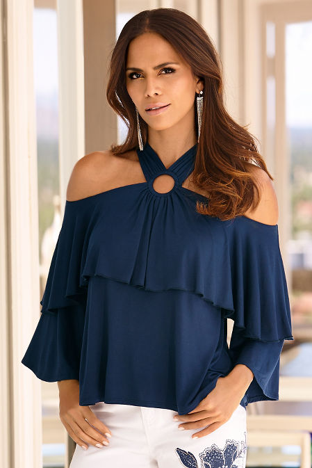 Cold shoulder ruffle ring top image