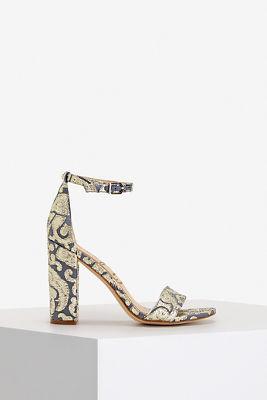 Metallic jacquard heel