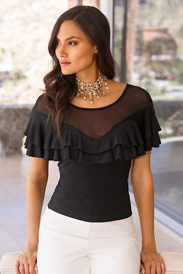 Mesh illusion ruffle top