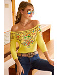 Off-the-shoulder Colorful Embroidered Top Photo