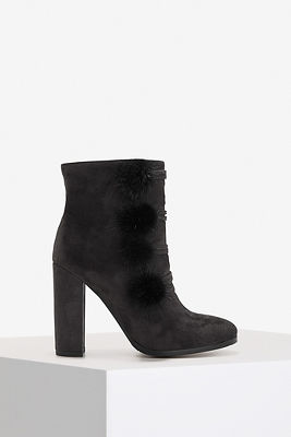 Faux-fur military ankle boot