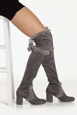 fur trim over-the-knee boot