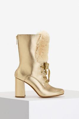 metallic fur trim boot