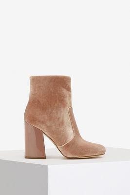 Velvet ankle bootie