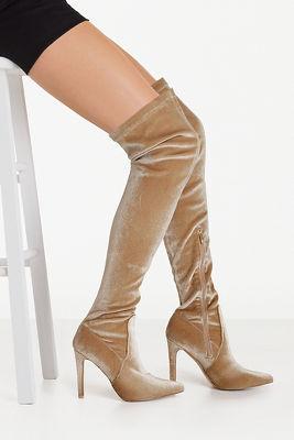 Velvet Over The Knee Boot