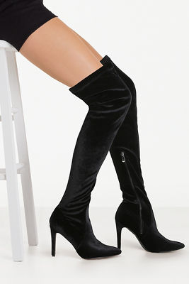 velvet over the knee boot