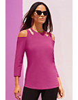 Travel Cutout Cold Shoulder Tunic Top Photo