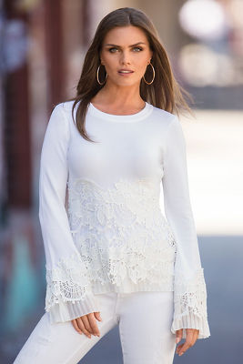 Flirty lace pleated sweater