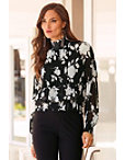 High Neck Floral Pleated Blouse Photo