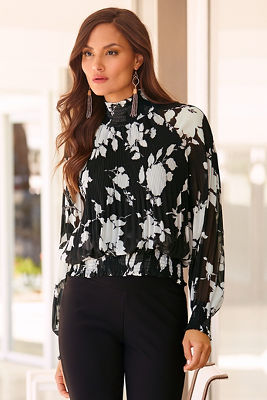High neck floral pleated blouse