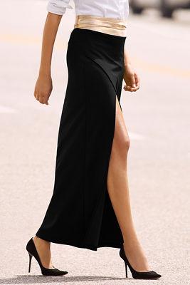 Travel high slit maxi skirt