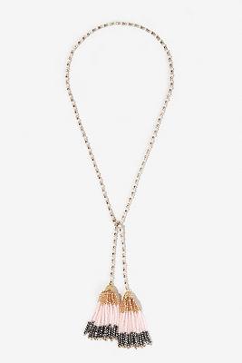 Blush bead tassel necklace
