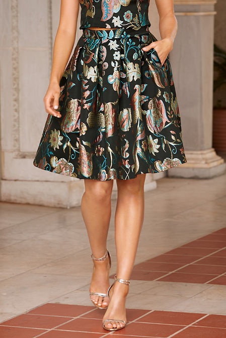 Floral jacquard skirt image