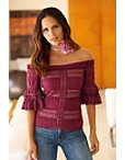 Off-the-shoudler Tiered Lace Top Photo