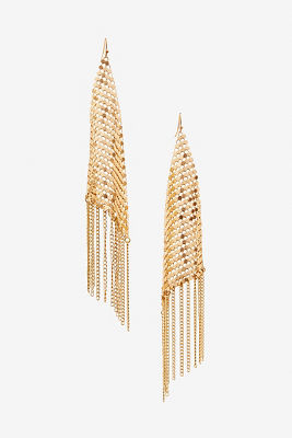 Chainmail gold fringe earrings
