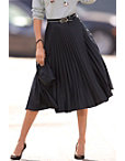 Vegan Leather Pleated Midi Skirt Photo