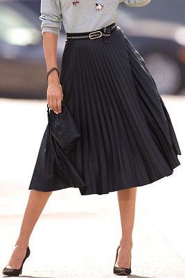 Vegan leather pleated midi skirt