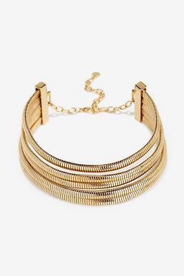 Five strand gold choker necklace