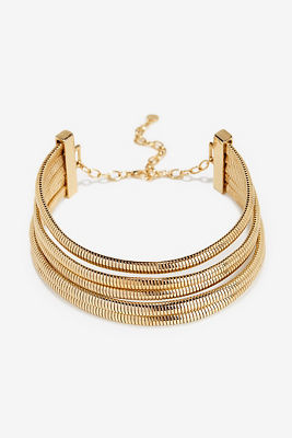 Five strand gold choker necklace