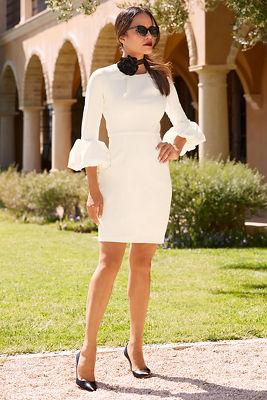 Flare cuff sleeve dress