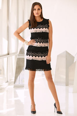 Floral and lace tweed dress