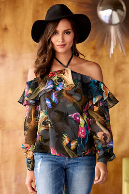 midnight butterlfy off-the-shoulder blouse
