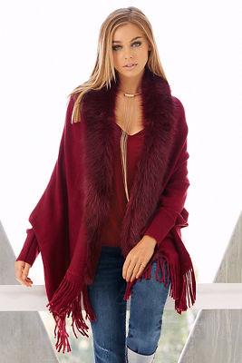 Faux-fur trim shawl sweater