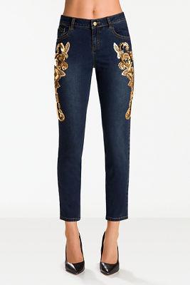 Gold embellished leg jean