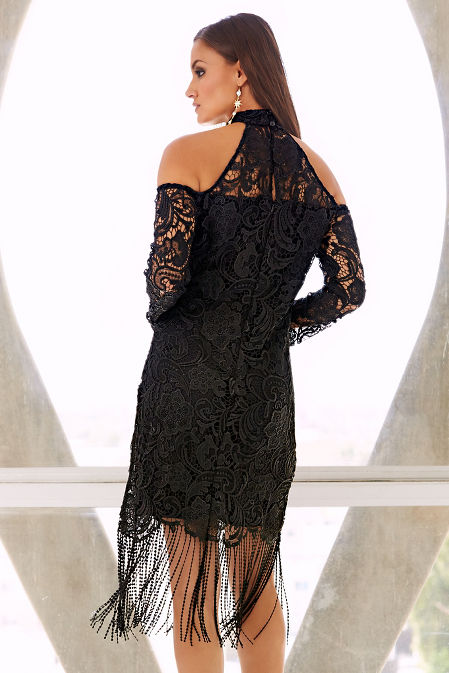 Cold shoulder chunky lace dress image