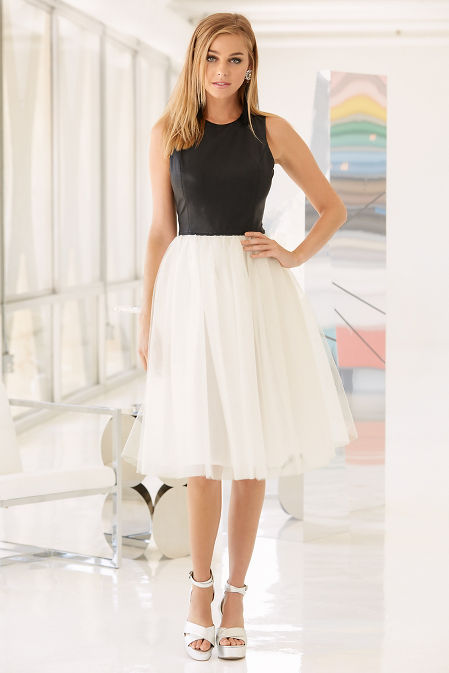 Vegan leather and tulle dress image