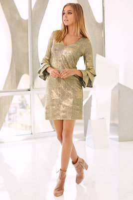 Metallic tiered-sleeve dress
