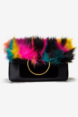 Multicolor faux-fur clutch