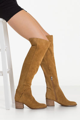 Over-the-knee suede low heel boot
