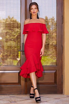 Display product reviews for Ruffle off-the-shoulder dress