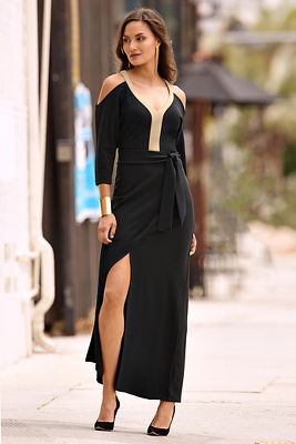 Travel keyhole cold-shoulder maxi dress