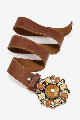 Yellow stone buckle belt