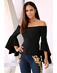 Off-the-shoulder Flare-sleeve Top Photo