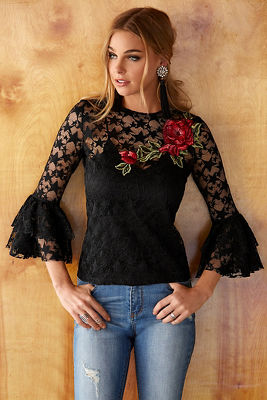 Star lace rose embroidered top