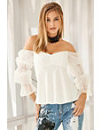 Off-the-shoulder Tulle-sleeve Blouse Photo