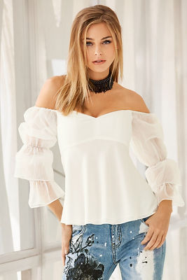 Off-the-shoulder tulle-sleeve blouse