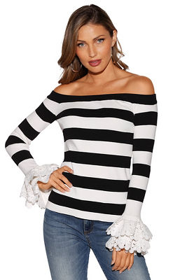 Striped lace sleeve sweater