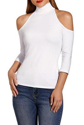 So Sexy&#8482 cold-shoulder mock neck top