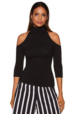 So Sexy&#8482 cold-shoulder mock neck top